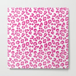 Leopard-Pinks on White Metal Print