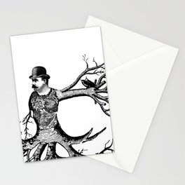 Black & White - Victorian Tatooed Tree Man Stationery Cards