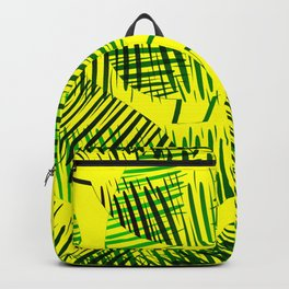 Pattern of green feathers and leaves on a yellow background. Backpack