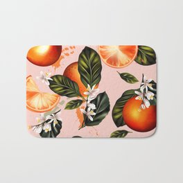 Citrus paradise. Tropical pattern with oranges Bath Mat