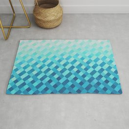 Aqua Blue Light Abstract Grid Pattern Design Rug