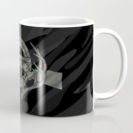 Camouflage Hunting and Shooting Sports Logo with Rifle, Buck Horns and Target Coffee Mug