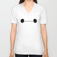 baymax V-neck T-shirts featuring Baymax by Ian Suarez
