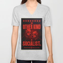 """Vintage """"The Other Kind of Socialist"""" Alcoholic Lithograph Advertisement in bright Commie Red! Unisex V-Neck"""