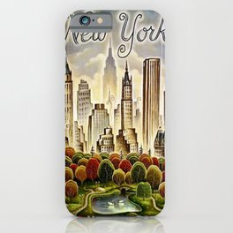 Vintage New York Central Park United Airlines Advertisement Poster iPhone Case