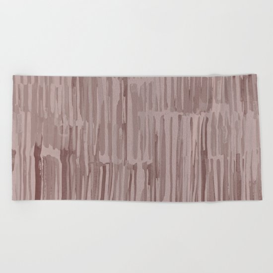 Simply Bamboo Brushstroke Red Earth on Clay Pink Beach Towel