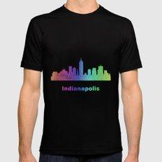 Rainbow Indianapolis skyline Mens Fitted Tee Black MEDIUM