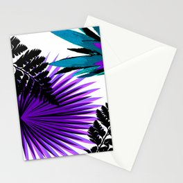 PALM AND FERN PURPLE BLACK AND WHITE TROPICAL PATTERN Stationery Cards