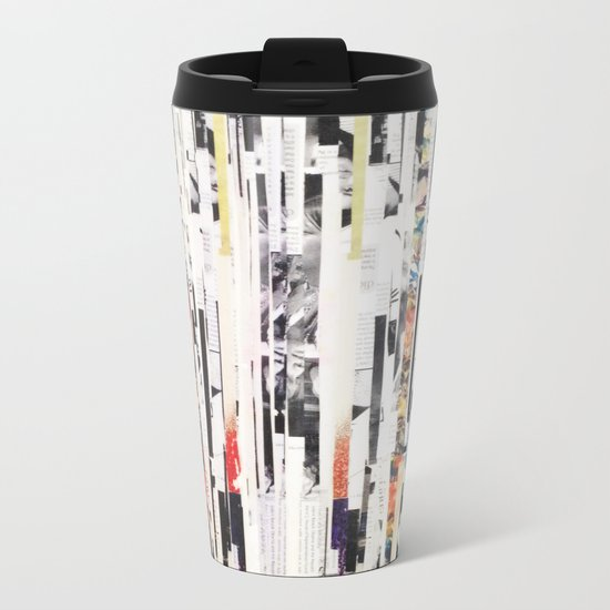 Black and White Stripes Metal Travel Mug