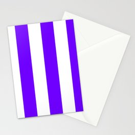 Wide Vertical Stripes - White and Indigo Violet Stationery Cards