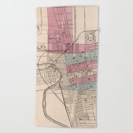 Vintage Map of Columbus Ohio (1868) Beach Towel