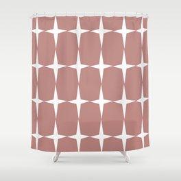 Atomic Age Starburst Pattern in 50s Pink and White. Minimalist Monochrome Mid-Century Modern Shower Curtain