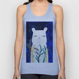 polar bear with botanical illustration in blue Unisex Tank Top