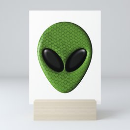 Alien Face With Green Scales Mini Art Print