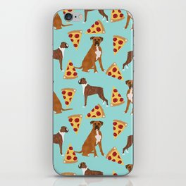 Boxer dog pattern pizza dog lover pet portraits boxers dog breed by pet friendly iPhone Skin