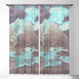 Night Mountains No. 16 Sheer Curtain