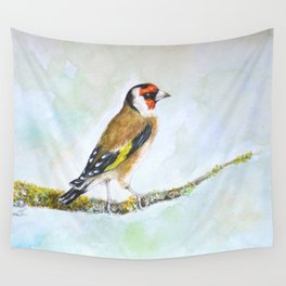 European goldfinch on tree branch Wall Tapestry