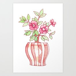 Cute Camellia Bonsai Tree in Watercolor Art Print