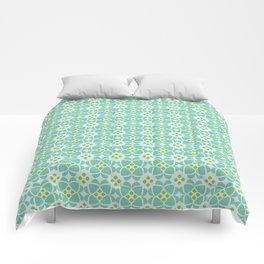Mediterranean sky blue tiles Comforters