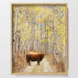 Cow in aspens Serving Tray