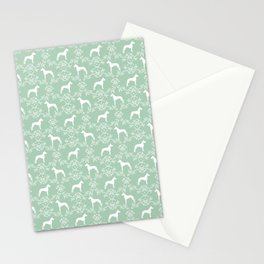Great Dane floral silhouette dog breed pattern minimal simple mint and white great danes silhouettes Stationery Cards