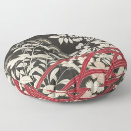 Kuro-tomesode with a Pair of Pheasants in Hiding (Japan, untouched kimono detail) Floor Pillow