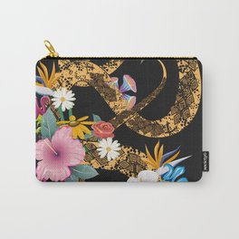 golden snake with flowers on black background Carry-All Pouch
