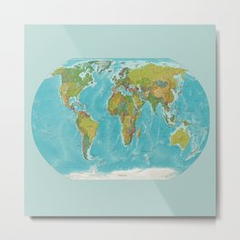 Topographic Map of the World Metal Print