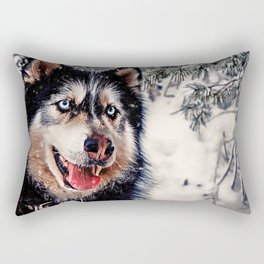 Playful Husky Rectangular Pillow
