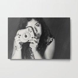 Woman and camera Metal Print