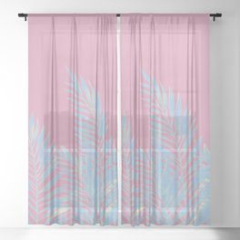 Palm Leaves Blue And Pink Sheer Curtain