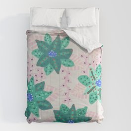 Mint Green Festive Holiday Floral  Comforters