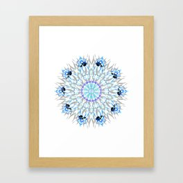 ice flake winter mandala Framed Art Print