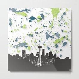 Seahawks Seattle Skyline Metal Print