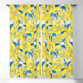 Flying Birds and Oak Leaves on Yellow Blackout Curtain