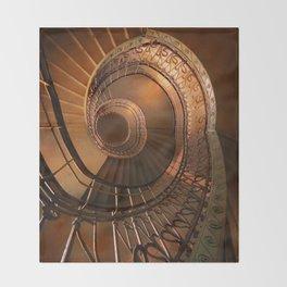 Golden spiral stairs Throw Blanket