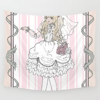bride Wall Tapestries featuring Dolly Bride by Katherine Rose