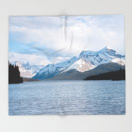Snow Covered Mountain Photography Print Throw Blanket