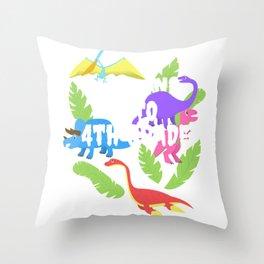 Roaring Into 4th Grade Fourth Grader Dinosaur School Tee  Throw Pillow
