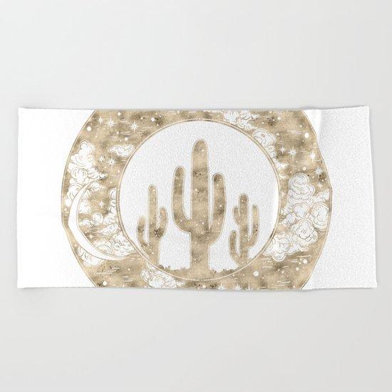Cactus Desert Nights Gold Beach Towel