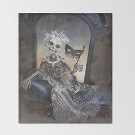 Catrina in Waiting Skeleton Large Format Throw Blanket