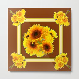 CHOCOLATE BROWN YELLOW SUNFLOWER BOUQUETS Metal Print