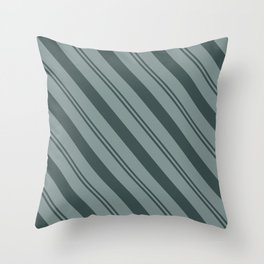 Night Watch PPG1145-7 Thick and Thin Angled Stripes on Scarborough Green PPG1145-5 Throw Pillow