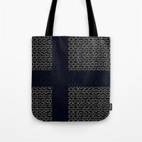 finland Tote Bags featuring digital Flag (Finland) by seb mcnulty