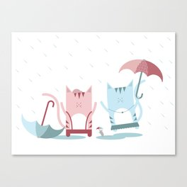 Traveling Tabbies: Play in the Rain Canvas Print