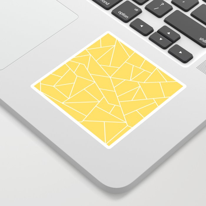 White Mosaic Lines On Mustard Yellow Sticker