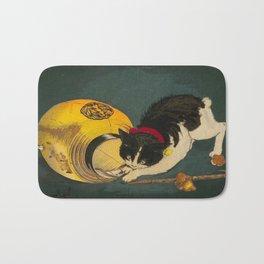 Kobayashi Kiyochika Black & White Cat Fluffy Cat Japanese Lantern Vintage Woodblock Print Bath Mat