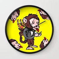 black butler Wall Clocks featuring monkey butler  mono mayordomo by gran mike