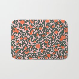 Oranges and Leaves Pattern - Pink Bath Mat