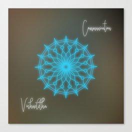 Throat chakra glowing mandala, chakra balancing Canvas Print